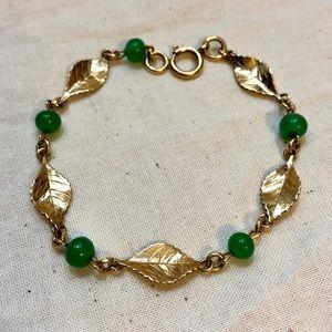 Jewelry - Vintage 1/20 12k GF Jade Gold Leaf Link Bracelet